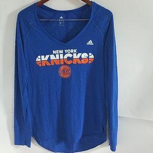 Adidas-NY Knicks long sleeve tee. Royal Blue. L
